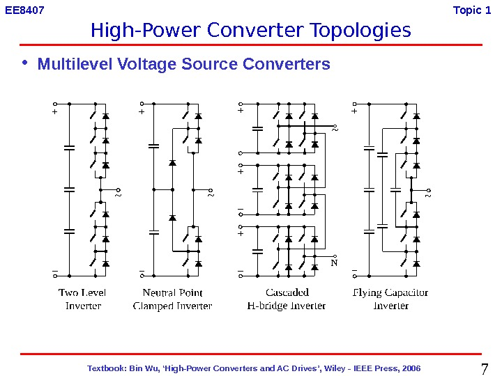 7  Textbook: Bin Wu, 'High-Power Converters and AC Drives', Wiley - IEEE Press, 2006 EE