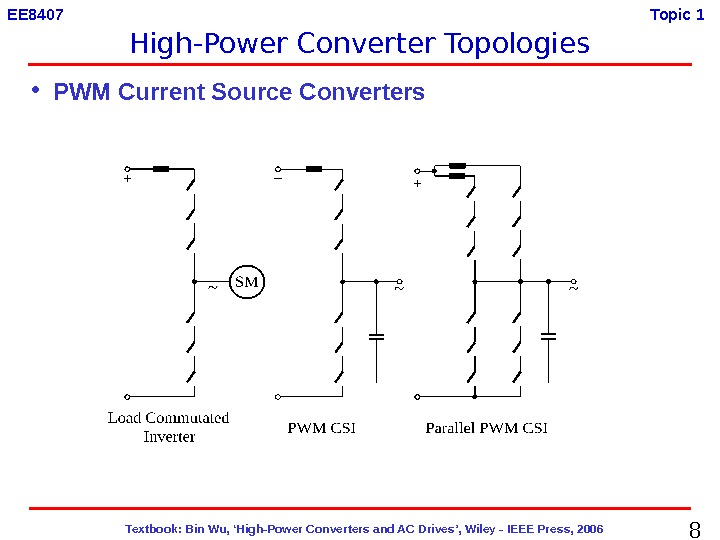 8  Textbook: Bin Wu, 'High-Power Converters and AC Drives', Wiley - IEEE Press, 2006 EE