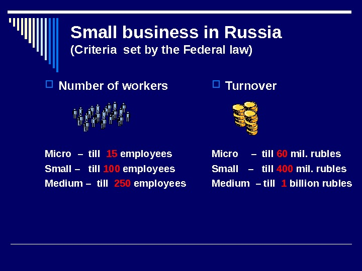 Small business in Russia (Criteria set by the Federal law) Number of workers Micro