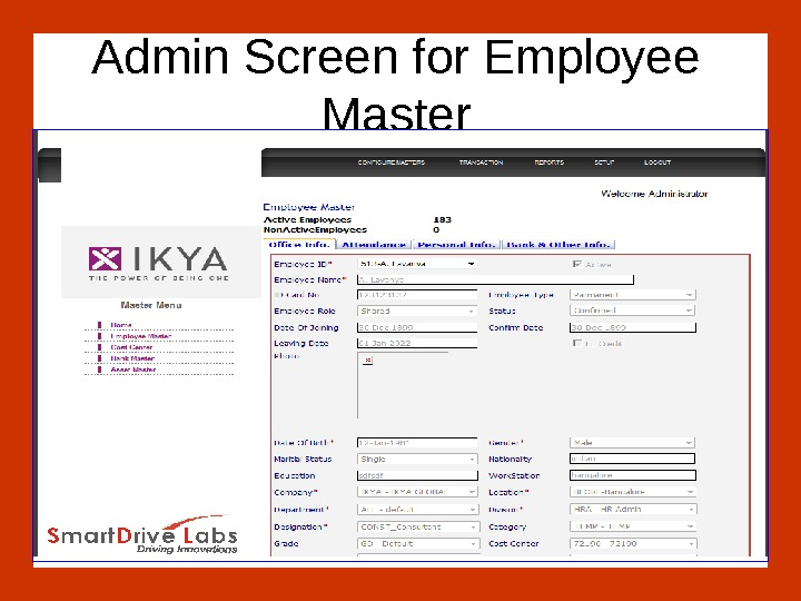 Admin Screen for Employee Master