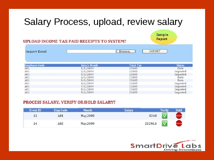 Salary Process, upload, review salary