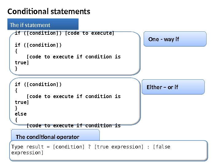 Conditional statements The if statement One - way ifif ([condition]) [code to execute] if ([condition]) {