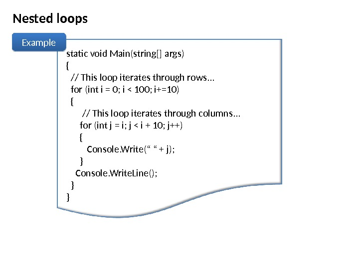 Nested loops Example static void Main(string[] args) {  // This loop iterates through rows. .