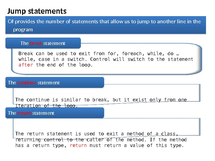 Jump statements C# provides the number of statements that allow us to jump to another line