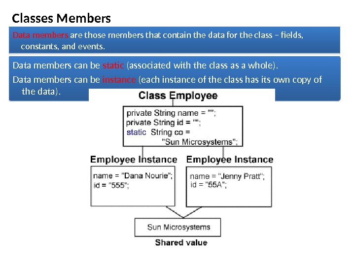 Classes Members Data members are those members that contain the data for the class – fields,