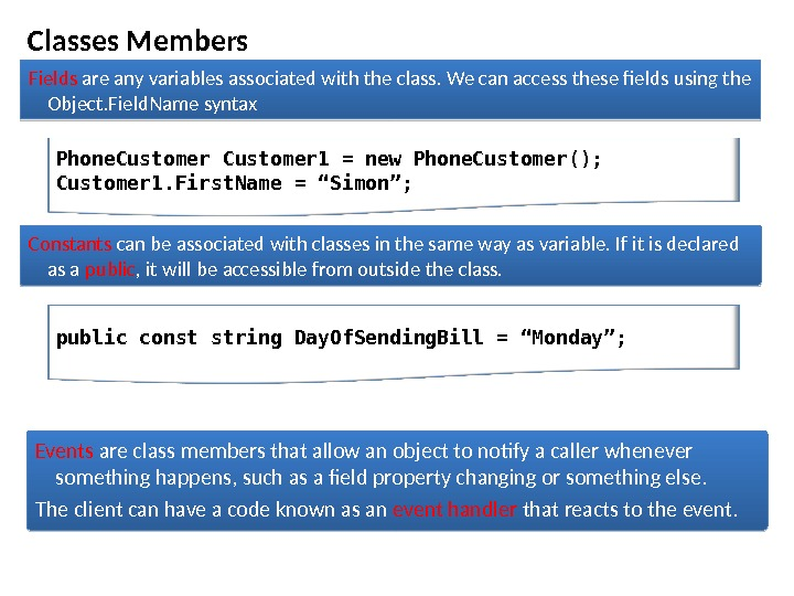 Classes Members Fields are any variables associated with the class. We can access these fields using