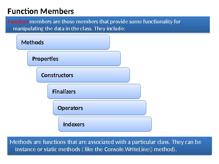 Function Members Function members are those members that provide some functionality for manipulating the data in