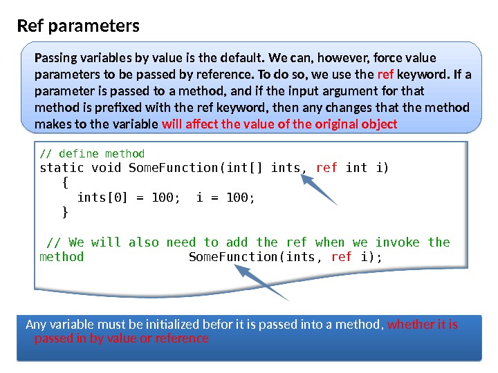 Ref parameters // define method  static void Some. Function(int[] ints,  ref int i) {