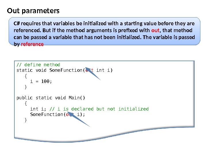 Out parameters // define method  static void Some. Function( out int i) {  i