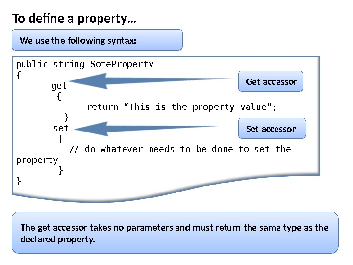 To define a property… We use the following syntax: public string Some. Property { get