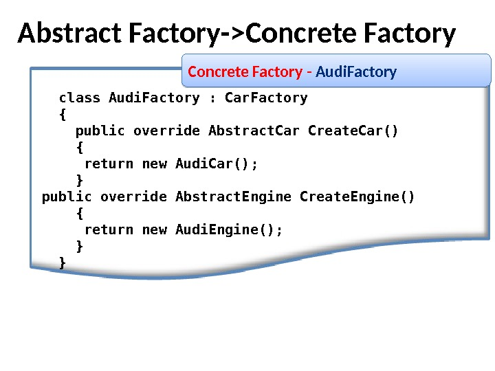 class Audi. Factory : Car. Factory { public override Abstract. Car Create. Car() { return