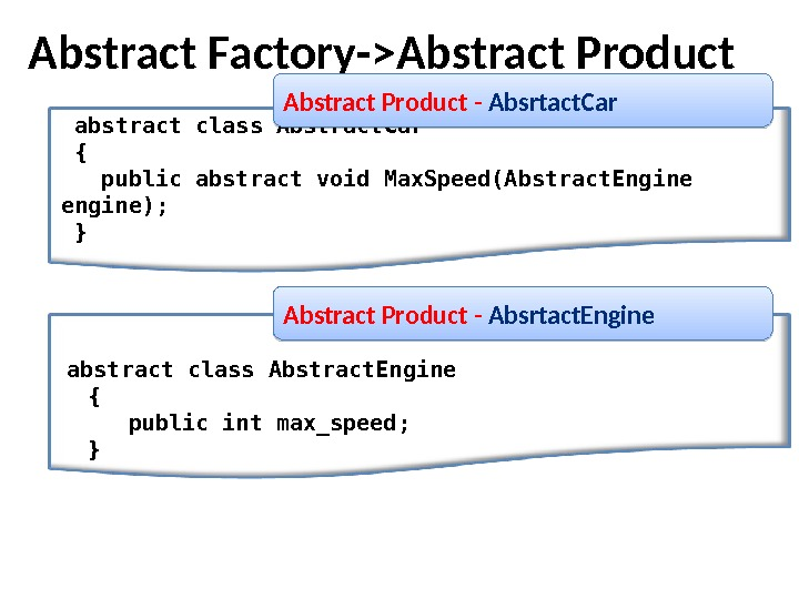 abstract class Abstract. Car { public abstract void Max. Speed(Abstract. Engine engine);  }Abstract Factory