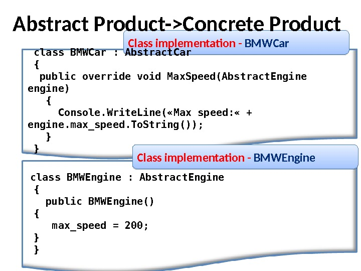 Class implementation - BMWCar class BMWCar : Abstract. Car {  public override void Max. Speed(Abstract.