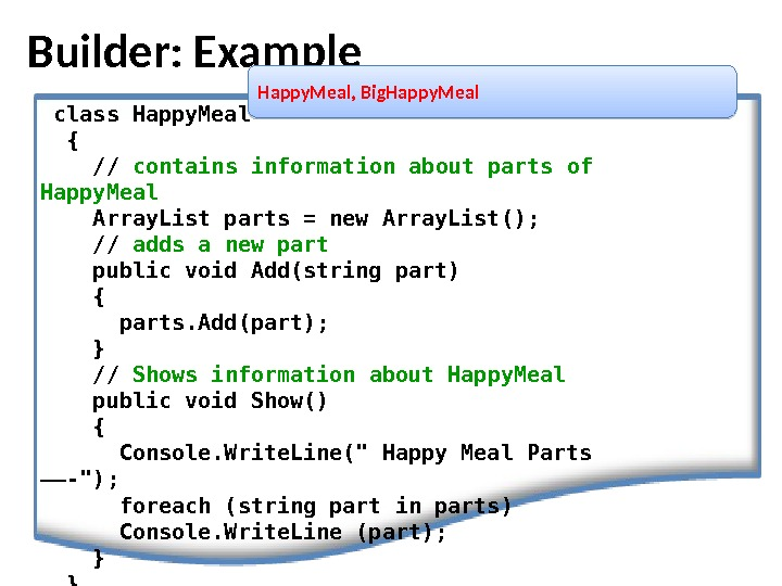 Builder: Example Happy. Meal, Big. Happy. Meal class Happy. Meal { // containsinformation about parts of