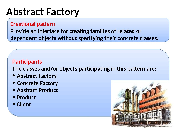 Abstract Factory  Creational pattern Provide an interface for creating families of related or dependent objects