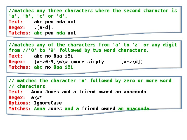 // matches any three characters where the second character is 'a', 'b', 'c' or 'd'.