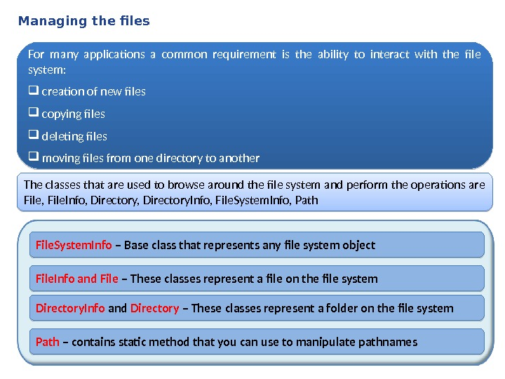 Managing the files For many applications a common requirement is the ability to interact with the