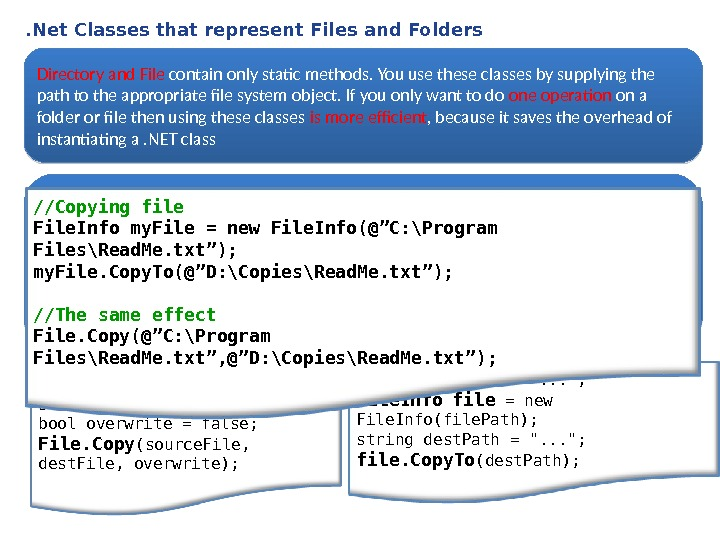. Net Classes that represent Files and Folders Directory and File contain only static methods. You