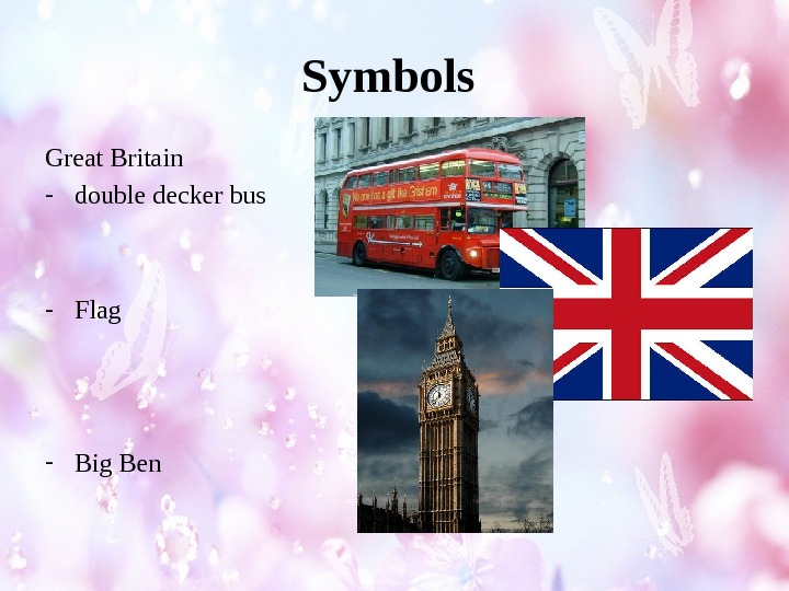 Symbols Great Britain - double decker bus - Flag - Big Ben
