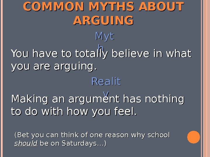COMMON MYTHS ABOUT ARGUING Myt hh You have to totally believe in what you are arguing.