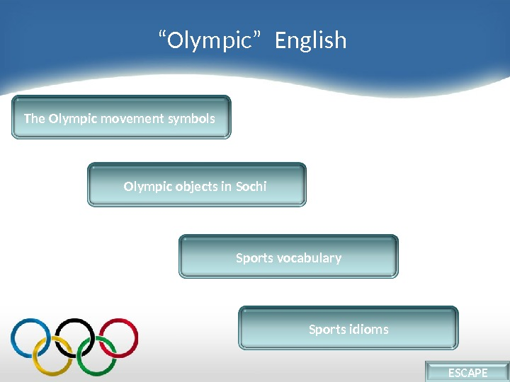 """ Olympic""  English Sports vocabulary. The Olympic movement symbols Olympic objects in Sochi Sports idioms"