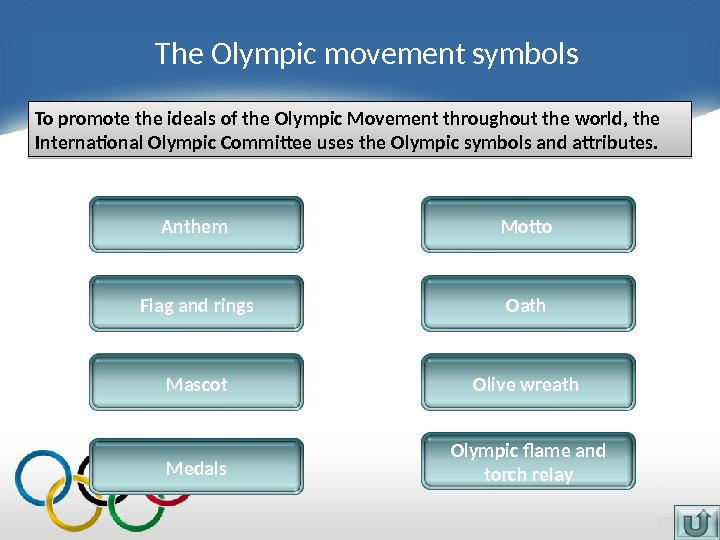 The Olympic movement symbols Anthem Flag and rings. To promote the ideals of the Olympic Movement