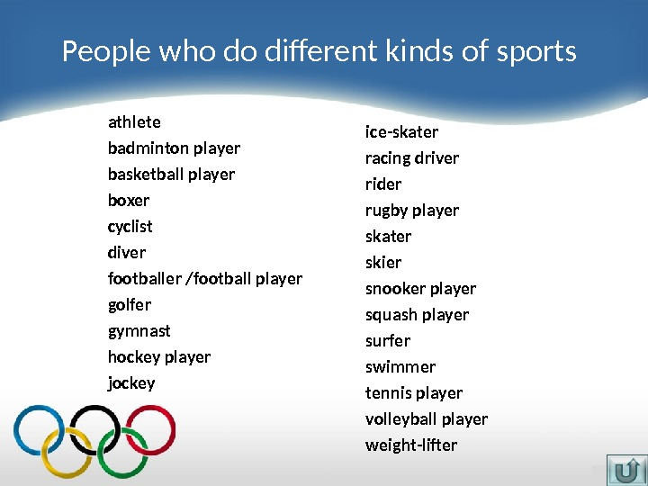 People who do different kinds of sports athlete badminton player basketball player boxer cyclist diver footballer