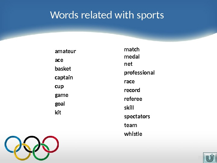 Words related with sports amateur ace basket captain cup game goal kit match medal n et
