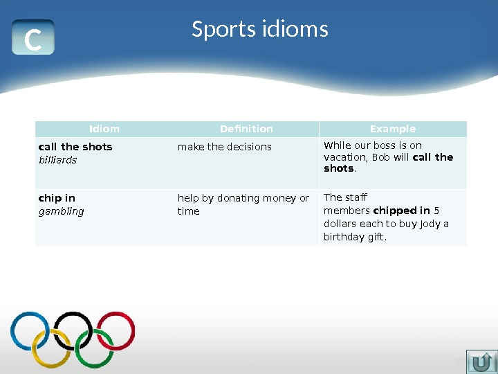 C Idiom Definition Example call the shots billiards make the decisions While our boss is on