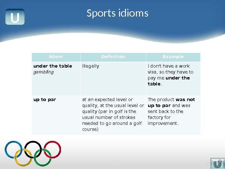 U Idiom Definition Example under the table gambling illegally I don't have a work visa, so
