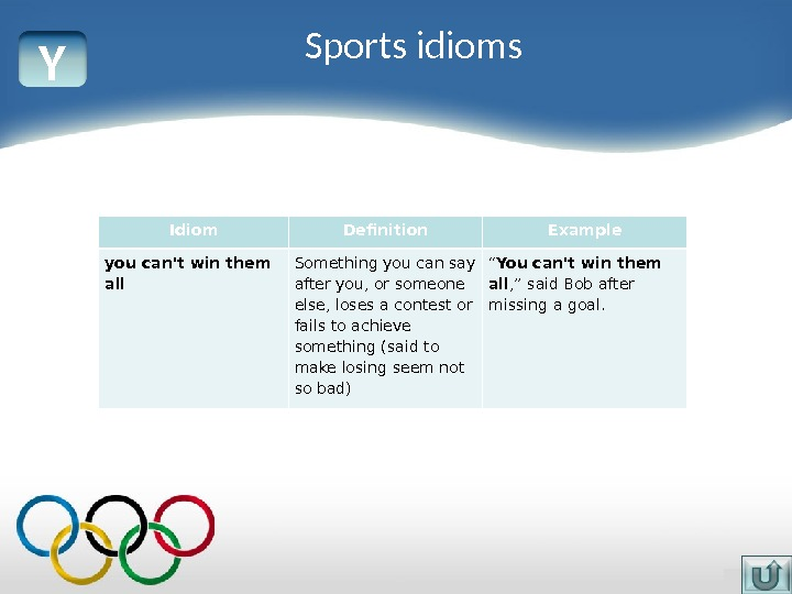Y Idiom Definition Example you can't win them all Something you can say after you, or