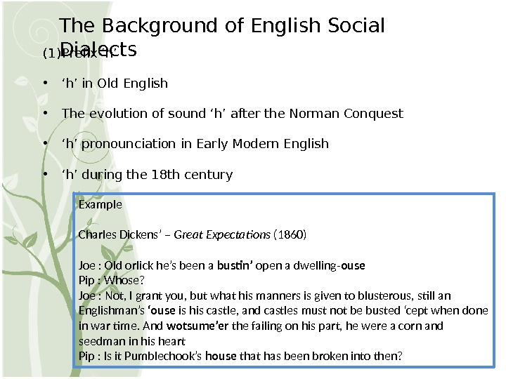 The Background of English Social Dialects (1) Prefix 'h' • ' h' in Old English •
