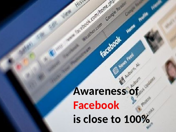 Awareness of Facebook is close to 100