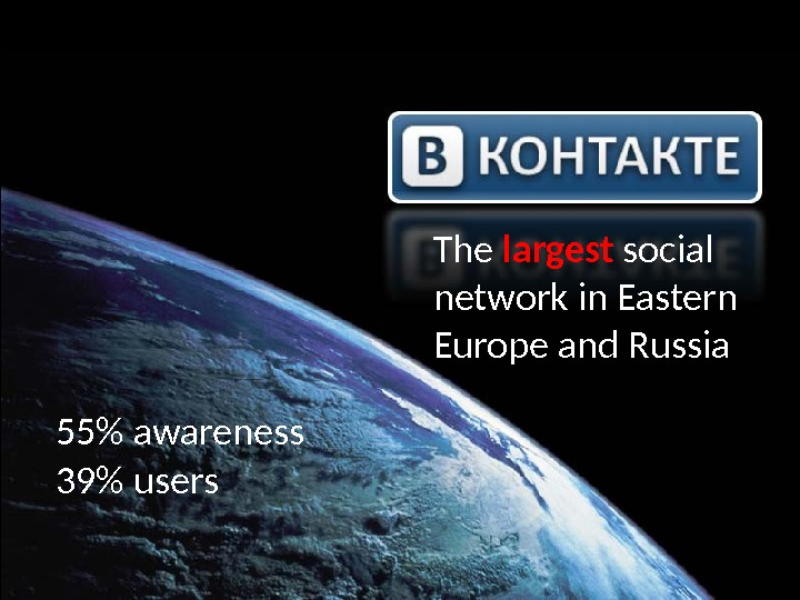 The largest social network in Eastern Europe and Russia 55 awareness 39 users