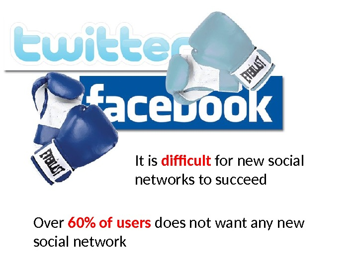 It is difficult for new social networks to succeed Over 60 of users does not want