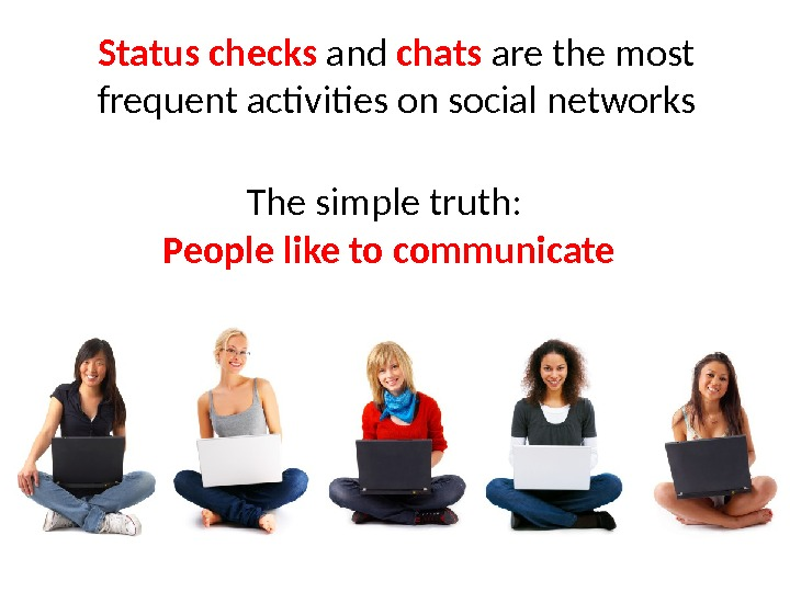 Status checks and chats are the most frequent activities on social networks The simple truth: