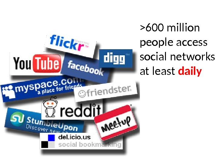 600 million people access social networks at least daily