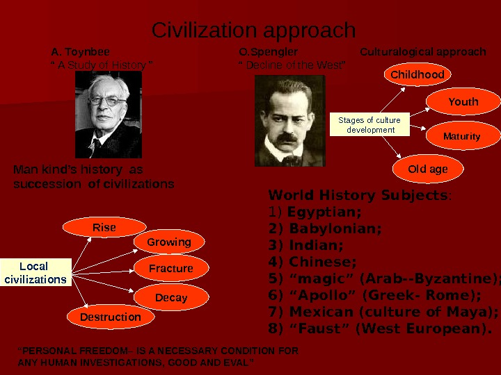 "Civilization approach А. То ynbee "" A Study of History "" Man kind's"