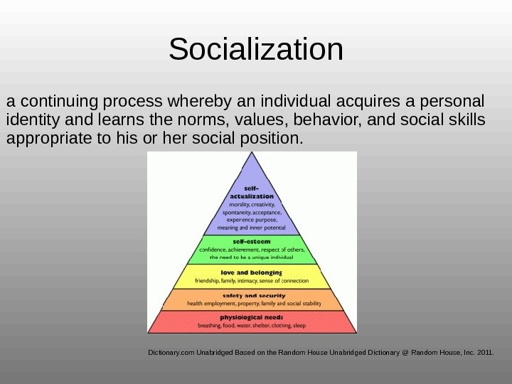 Socialization a continuing process whereby an individual acquires a personal identity and learns the norms, values,