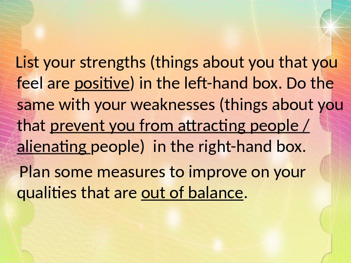 List your strengths (things about you that you feel are positive ) in the