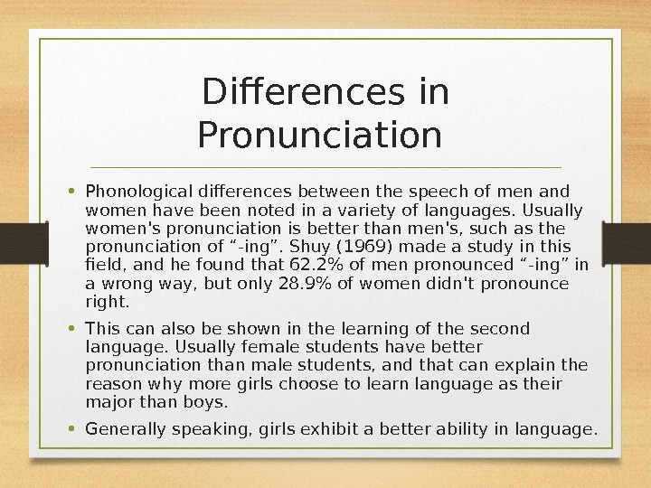Differences in Pronunciation  • Phonological differences between the speech of men and women have been