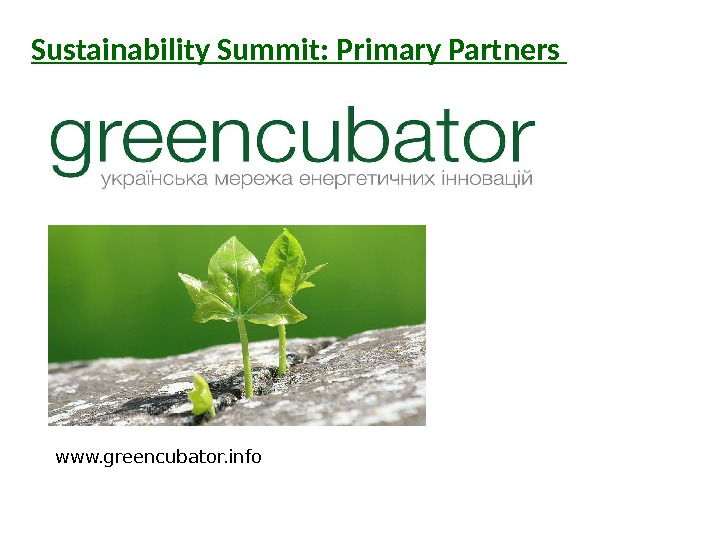 Sustainability Summit: Primary Partners www. greencubator. info