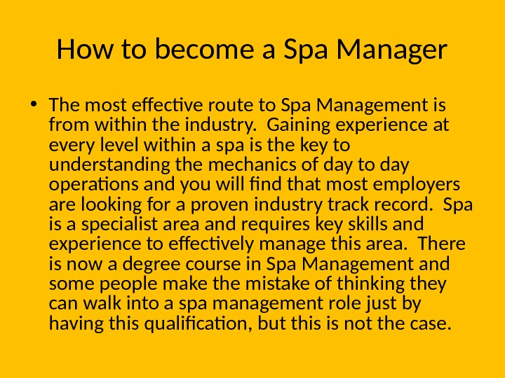 How to become a Spa Manager • The most effective route to Spa Management is from