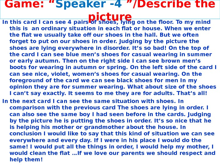 "Game: "" Speaker -4 ""/Describe the picture In this card I can see 4 pairs of"