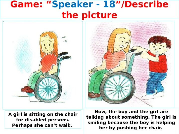 "Game: "" Speaker - 1 8 ""/Describe the picture A girl is sitting on the chair"