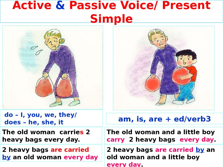 Active & Passive Voice/ Present Simple The old woman and a little boy carry  2