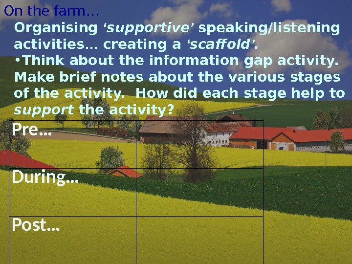 On the farm… Pre… During … Post… Organising ' supportive ' speaking/listening activities … creating a