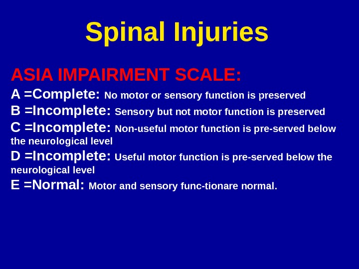 Spinal Injuries ASIA IMPAIRMENT SCALE: A =Complete:  No motor or sensory function is preserved B