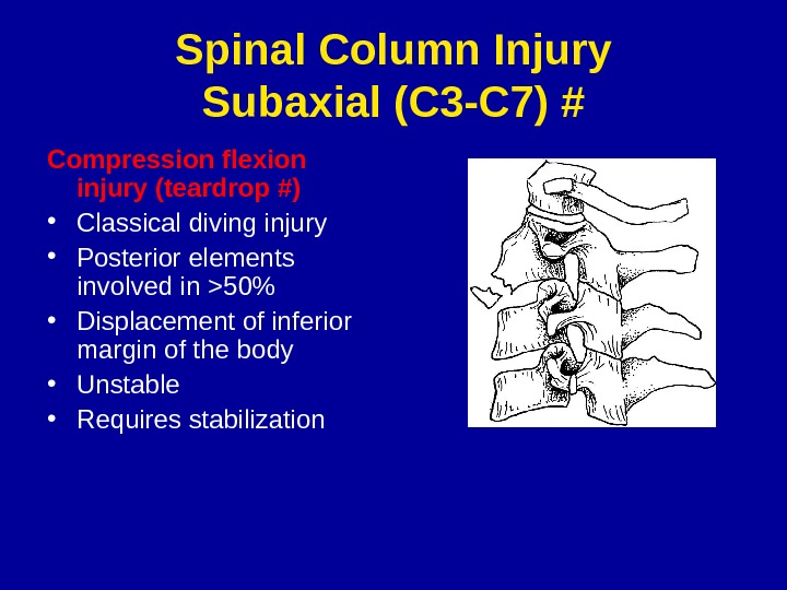 Spinal Column Injury Subaxial (C 3 -C 7) # Compression flexion injury (teardrop #) • Classical