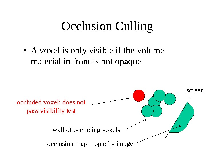 Occlusion Culling  • A voxel is only visible if the volume material in front is